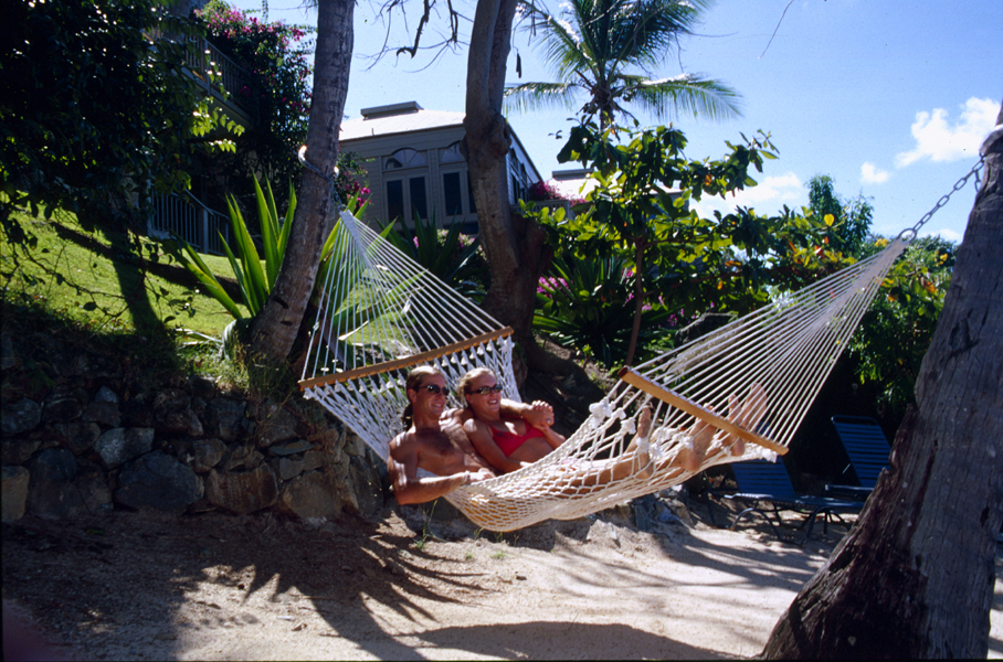 couple in hammock on the beach